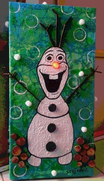 Tableau peinture disney olaf la reine des neiges bonhomme - Olafe la reine des neiges ...