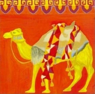 Tableau peinture dromadaire motif couleurs chaudes maroc - Peinture couleurs chaudes ...