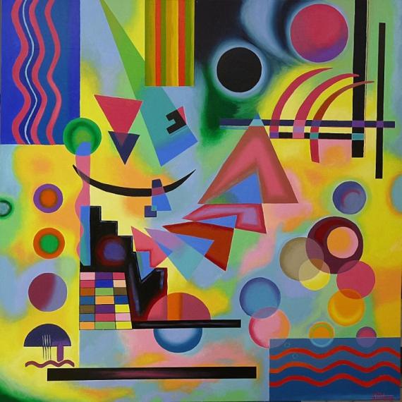 Tableau peinture eclipse abstrait jaune ronds eclipse for Galerie art abstrait