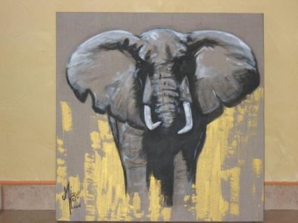 tableau peinture elephant l phant d 39 afrique. Black Bedroom Furniture Sets. Home Design Ideas