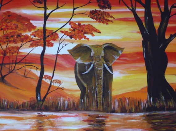 tableau peinture elephant d 39 afrique. Black Bedroom Furniture Sets. Home Design Ideas