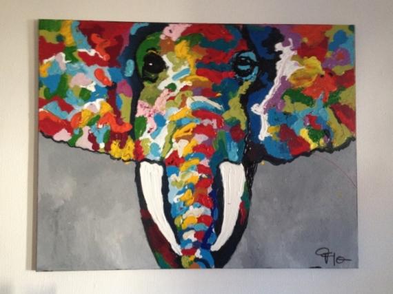 Tableau Peinture Éléphant Gris Couleur Grand - Éléphant