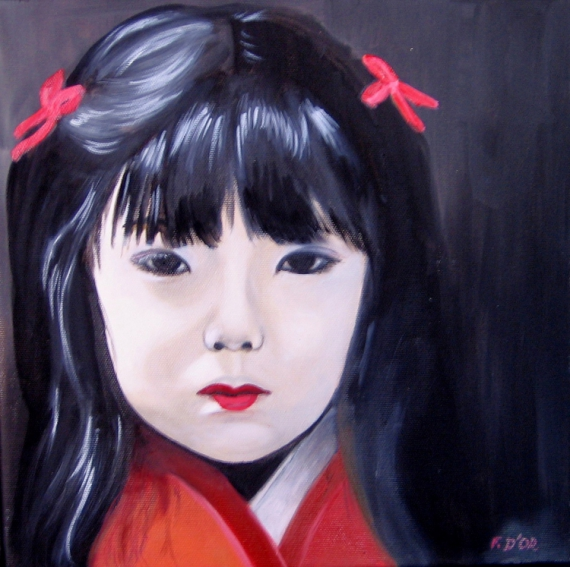 tableau personnages enfant chine folklore  petite chinoise 1