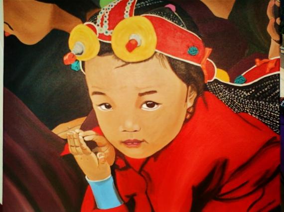 Exceptionnel TABLEAU PEINTURE enfant portrait enfant du monde Tibet  VZ91