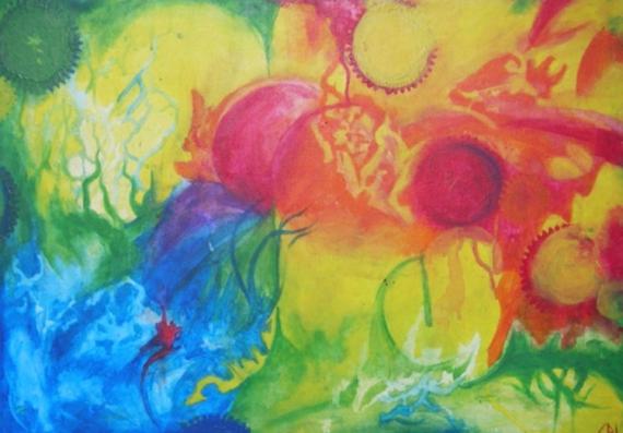 Tableau peinture engrenage cercle chromatique multicouleur - Cercle chromatique peinture ...