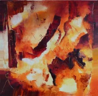 Tableau peinture vasion suggestion chaussures couleurs chaudes pas de deux for Peinture couleurs chaudes