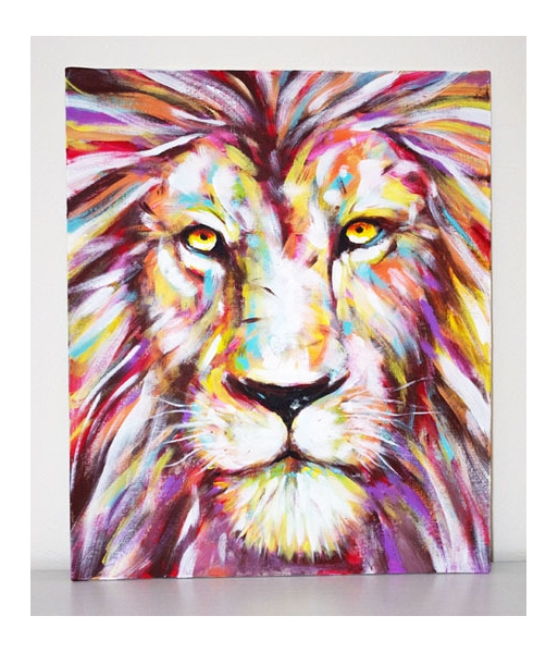 tableau peinture lion. Black Bedroom Furniture Sets. Home Design Ideas