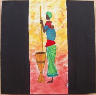 tableau peinture femme africaine bebe aquarelle femme africaine au pillon. Black Bedroom Furniture Sets. Home Design Ideas