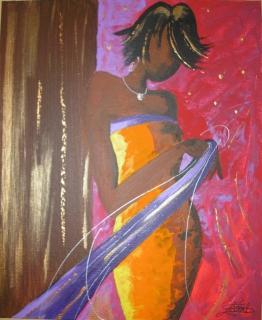 tableau peinture femme africaine mode emotion feminite. Black Bedroom Furniture Sets. Home Design Ideas