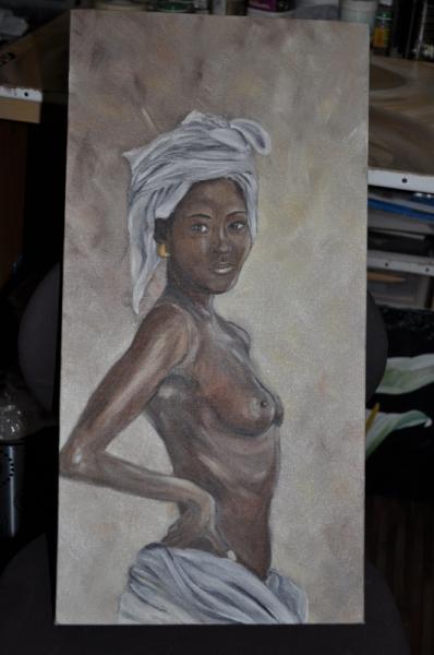 Célèbre TABLEAU PEINTURE femme afrique nue noire - femme d'afrique RN46