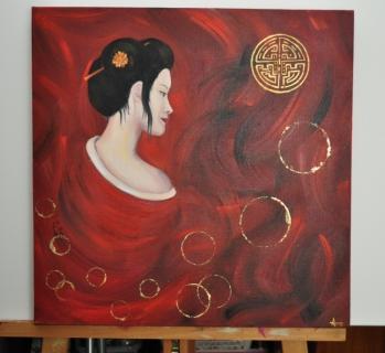 tableau peinture femme asiatique japonaise rouge japonique. Black Bedroom Furniture Sets. Home Design Ideas