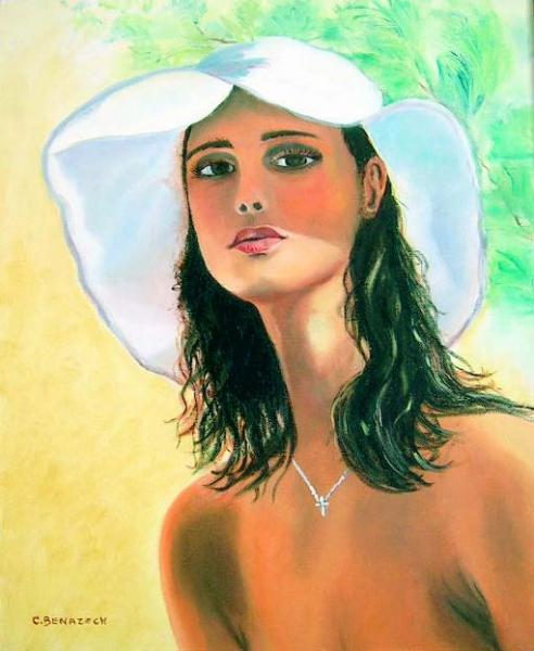 tableau peinture femme chapeau soleil visage femme au chapeau. Black Bedroom Furniture Sets. Home Design Ideas