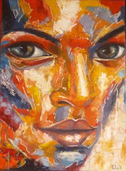 Tableau peinture femme couleurs portrait f line for Peinture a lhuile couleur argent