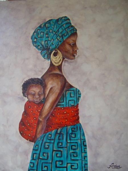 tableau peinture femme enfant afrique mre la mre et l 39 enfant