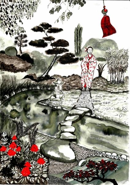 Jardin japonais dessin jardins japonais ditions dessain - Tableau jardin japonais ...