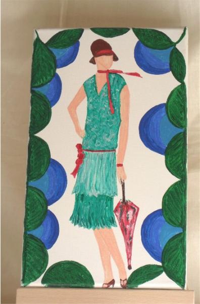tableau peinture femme mode ann es folles 1925 la dame l 39 ombrelle. Black Bedroom Furniture Sets. Home Design Ideas