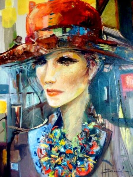 Tableau peinture femme au chapeau personnages peinture a lhuile jongose ninja - Tableau chapeau melon pomme verte ...