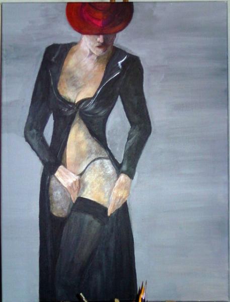 tableau femme portrait peinture toile personnages acrylique amazone chapeau p
