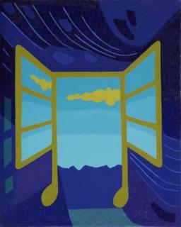 Tableau peinture fen tre musique ciel nuage fen tre for Agrandir fenetre windows