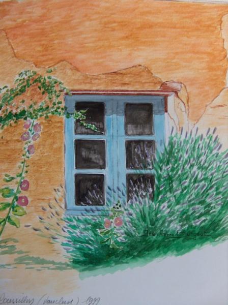 tableau peinture fenetre roussillon vaucluse ocre. Black Bedroom Furniture Sets. Home Design Ideas