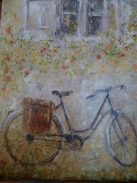 tableau peinture fen u00eatre v u00e9lo sacoche fleurs