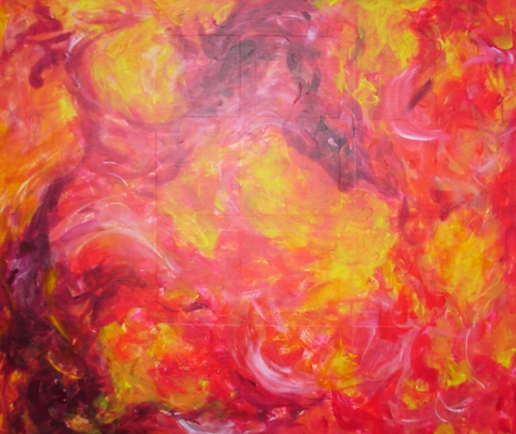 Tableau peinture feu dragon chaud cracheur de feu - Couleurs chaudes en peinture ...