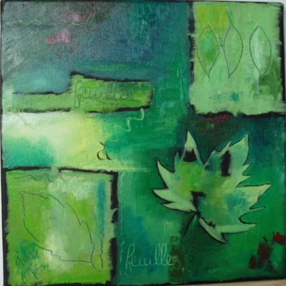 Tableau Peinture Feuilles Vert Nature Dco Feuille Feuille