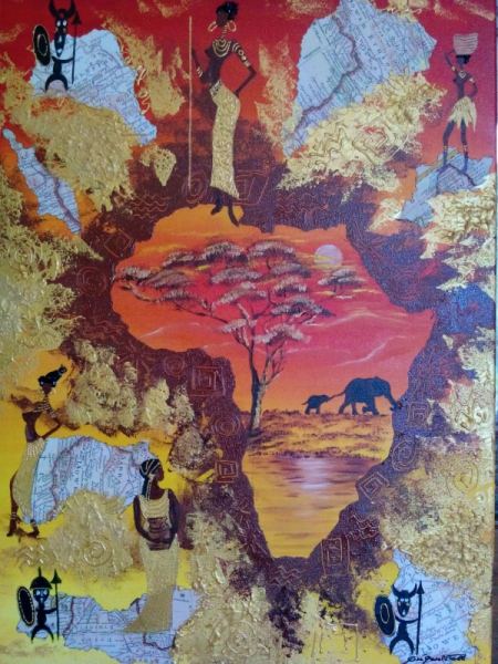 tableau peinture figurine afrique couche de soleil couleur chaude voyage. Black Bedroom Furniture Sets. Home Design Ideas