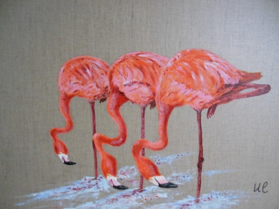 tableau peinture flamant rose oiseau lin les trois flamants roses. Black Bedroom Furniture Sets. Home Design Ideas
