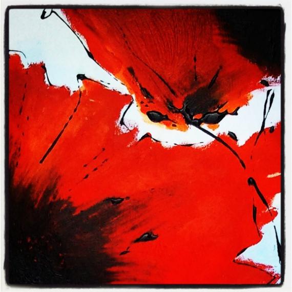 Tableau peinture fleur abstrait coquelicot diptyque for Tableau de coquelicot en peinture