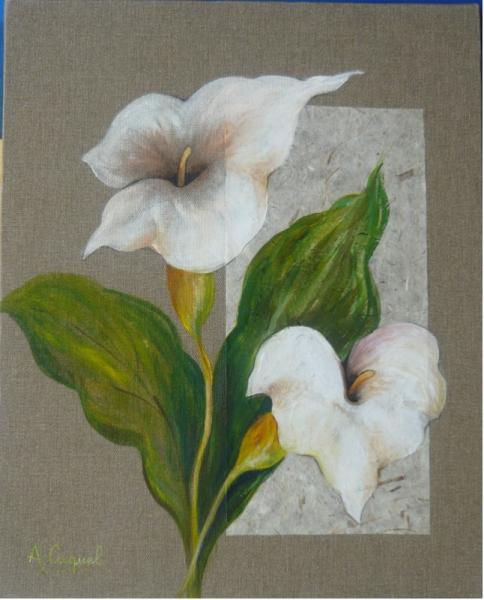 Tableau peinture fleur arum fleur blanche les arums - Tableau triptyque fleurs blanches ...