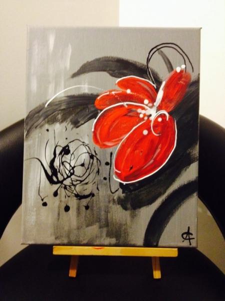 Tableau peinture fleur contemporain moustic for Tableau peinture contemporain