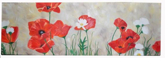 TABLEAU PEINTURE Fleur coquelicot nature rouge Fleurs Peinture a l\u0027huile ,  champs coquelicots