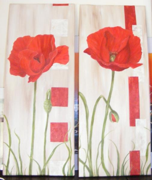 Tableau peinture fleur coquelicot rouge beige duo de for Tableau de coquelicot en peinture