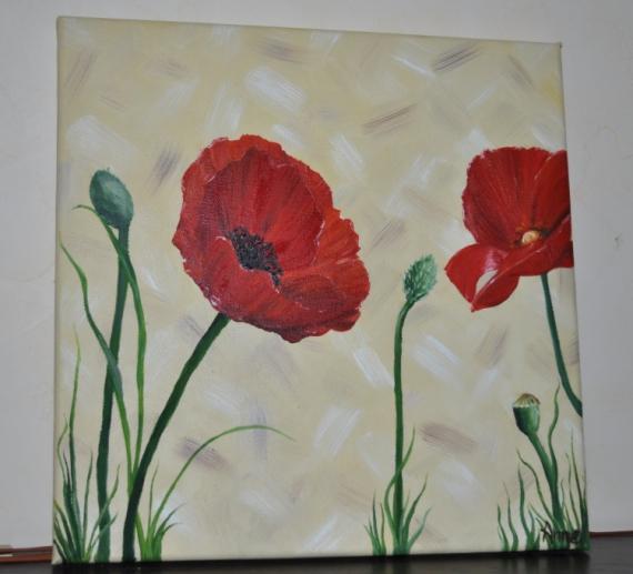 Tableau peinture fleur coquelicot rouge jaune 2 petits for Tableau de coquelicot en peinture