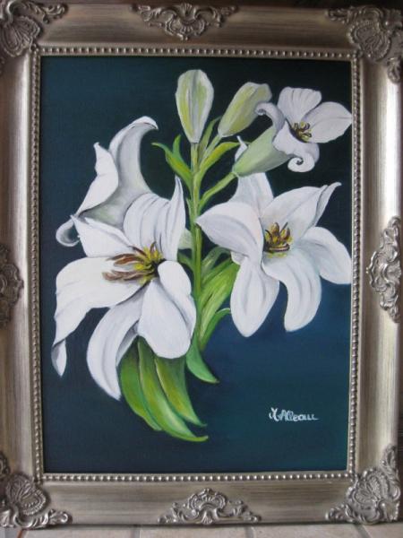 Tableau peinture fleur lys blanc nature lys - Acheter tableau peinture ...