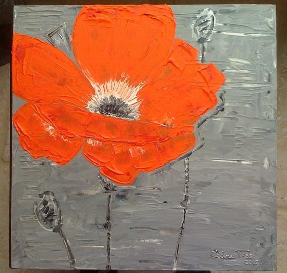 Tableau peinture fleur orange argent fleur orange grande - Acheter une peinture sur toile ...