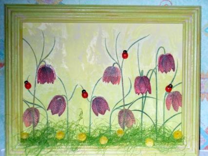 tableau peinture fleur rouge vert animaux fleurs dans les pr s. Black Bedroom Furniture Sets. Home Design Ideas