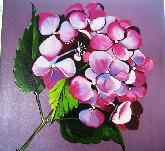 Peinture Hortensias Rose nature mort tableau, impressionniste ...