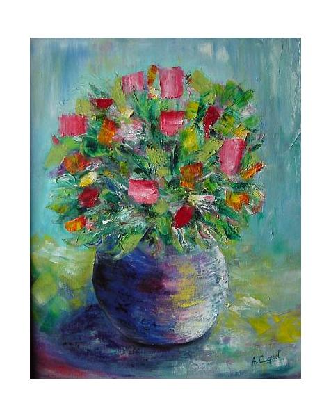 Exceptionnel TABLEAU PEINTURE fleurs bouquet moderne pot - Bouquet couteau SQ94