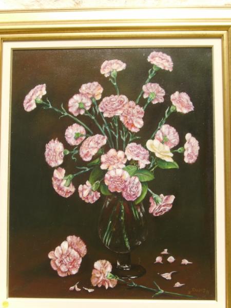 tableau peinture fleurs bouquet oeillets vgase 2 douzaines d 39 oeillets avec rose blanche. Black Bedroom Furniture Sets. Home Design Ideas