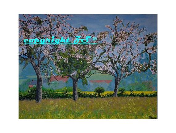 tableau peinture fleurs des champs printemps jaune arbres en fleurs printemps. Black Bedroom Furniture Sets. Home Design Ideas