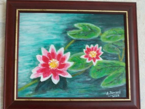 Tableau peinture fleurs eau zen nnuphars - Tableau peinture zen ...