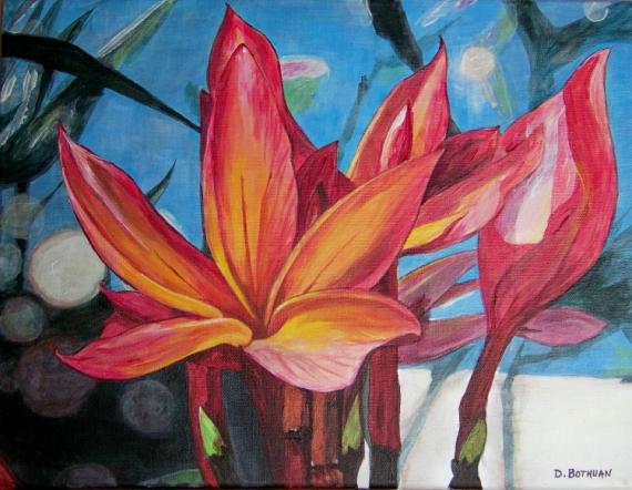 tableau peinture fleurs exotique tropical color fleurs exotiques sur fond bleu. Black Bedroom Furniture Sets. Home Design Ideas