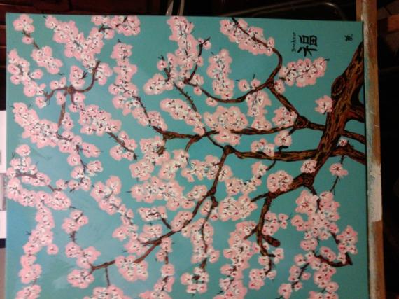 TABLEAU PEINTURE FLEURS FLEURS Fleurs Acrylique , N° 92 Fleurs Japonais