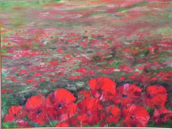 tableau fleurs fleurs  champs de coquelicots
