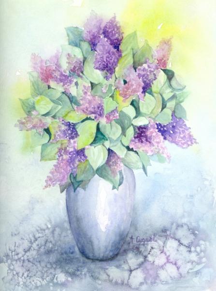 tableau peinture fleurs lilas bouquet printemps lilas. Black Bedroom Furniture Sets. Home Design Ideas
