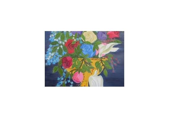 Tableau peinture fleurs et pigeons - Creation tableau photo ...