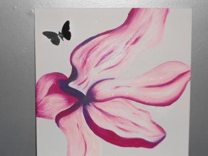 Tableau fleurs fleur violet rose gris alone in the silver - Peinture gris violet ...