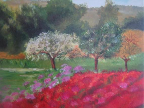 TABLEAU PEINTURE fleurs rouges champs paysage forêt Paysages Peinture a  l\u0027huile , Printemps